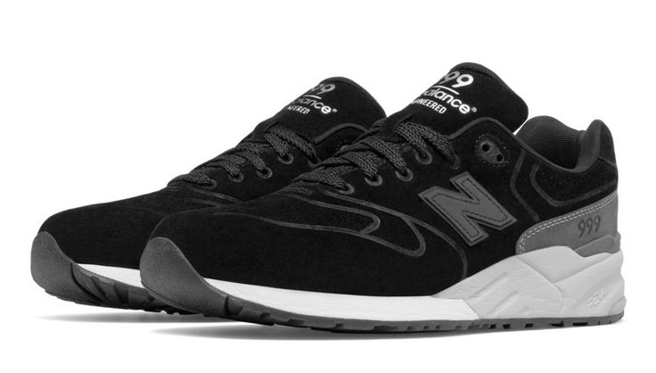 999 Re-Engineered Suede, Black with Grey