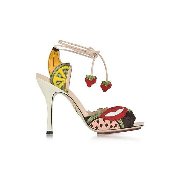Charlotte Olympia Designer Shoes Fruit Salad Multicolor Suede Sandal ($386) ❤ liked on Polyvore featuring shoes, sandals, multicolor, multi color high heel sandals, colorful sandals, colorful shoes, open toe high heel sandals and high heeled footwear