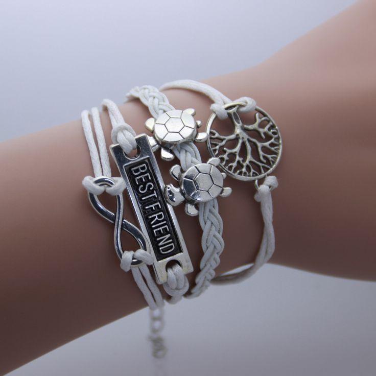 Infinity Turtle Wishing Tree Friendship Leather Charm Bracelet
