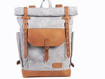 Light grey waxed canvas rucksack. Grey backpack.