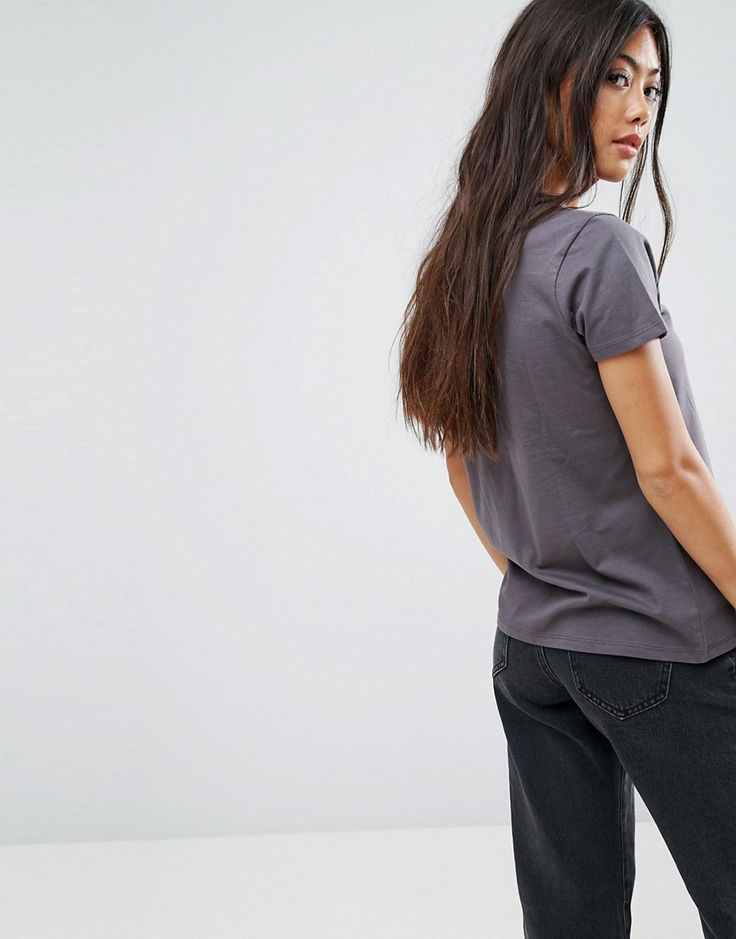ASOS PETITE T- Shirt with Sequin Rose - Gray