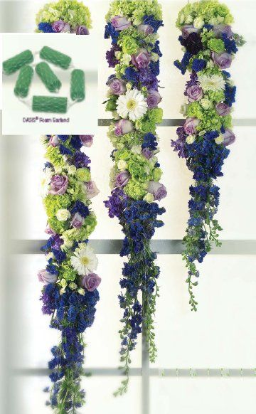 Hanging Flower Decorations; Creating beautiful flower garlands by using Oasis foam.  See other pictures of DIY flower arranging tutorials, bridal bouquets, centerpieces, and more.