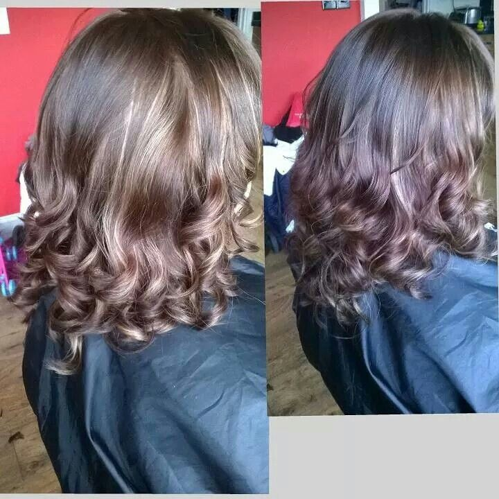 Chocolate with caramel highlights and styled with the babyliss pro curl