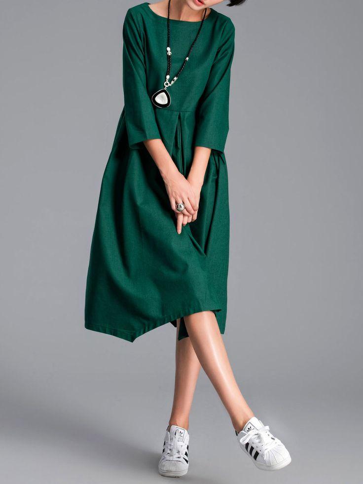 Shop Midi Dresses - Green 3/4 Sleeve Cotton-blend H-line Solid Midi Dress online. Discover unique designers fashion at StyleWe.com.