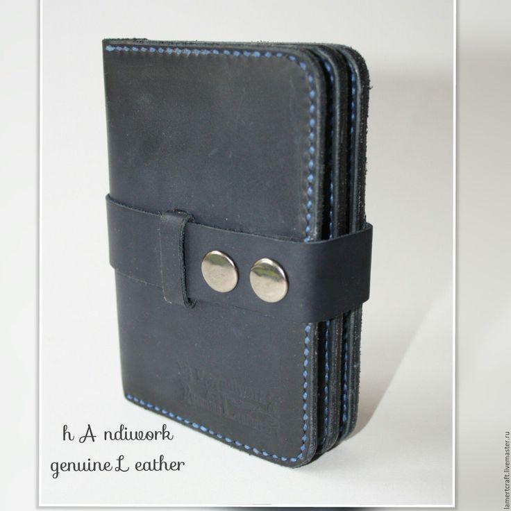 Купить Портмоне книжка Dark Bluе Whale - тёмно-синий, кошелек, портмоне, портмоне кожаное