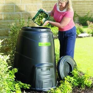Black composter bin.