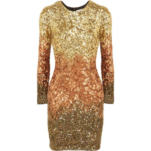 Rachel Gilbert Shivaun dégradé metallic sequined dress ($471) ❤ liked on Polyvore featuring dresses, vestidos, rachel gilbert, short dresses, gold, metallic sequin dress, beige sequin dress, short sequin dress, metallic short dress and beige dress