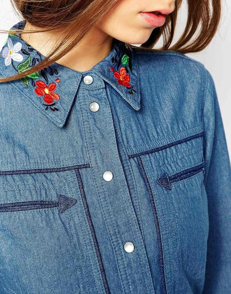 Image 3 of ASOS Denim Shirt With Embroidered Collar in Mid Wash