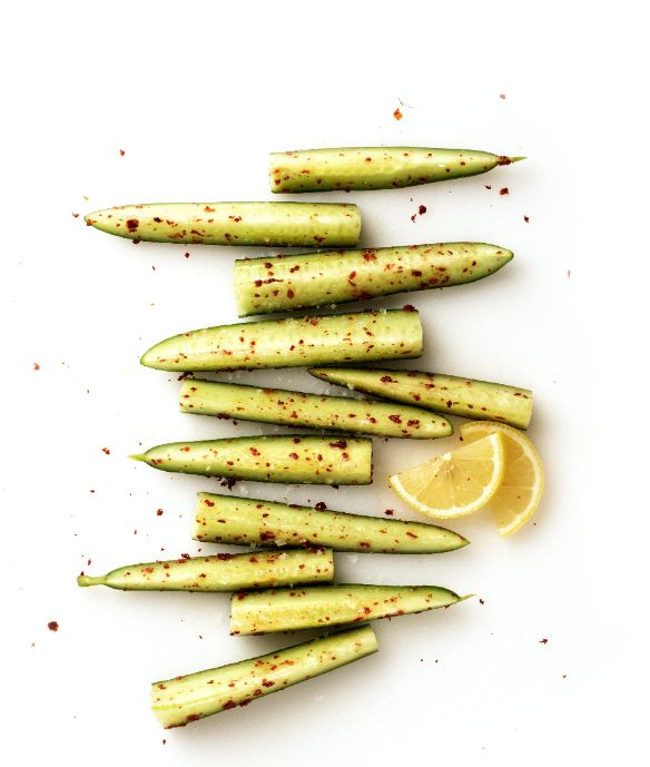 English cucumber tossed with Maldon salt, Aleppo pepper, and lemon juice