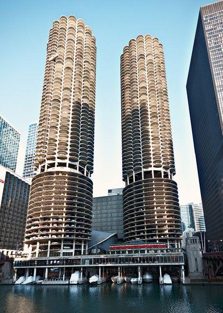 Marina City (1964), 300 North State Street, Chicago, Illinois by lumierefl, via Flickr