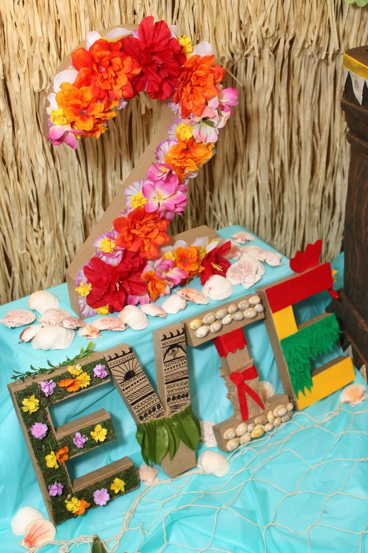 Moana Birthday Party Ideas with FREE printables, food menu ideas, cupcake pictures, activities, games and more! How to make Moana themed paper machet letters for cheap by Mommy of a Princess