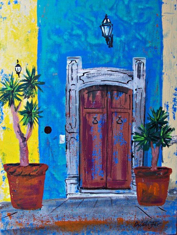 "Painting of blue wall with weathered door in San Miguel de Allende original acrylic art on board 11 3/4 ""x 15 3/4"" by MyMexicanArt on Etsy https://www.etsy.com/listing/240386682/painting-of-blue-wall-with-weathered"