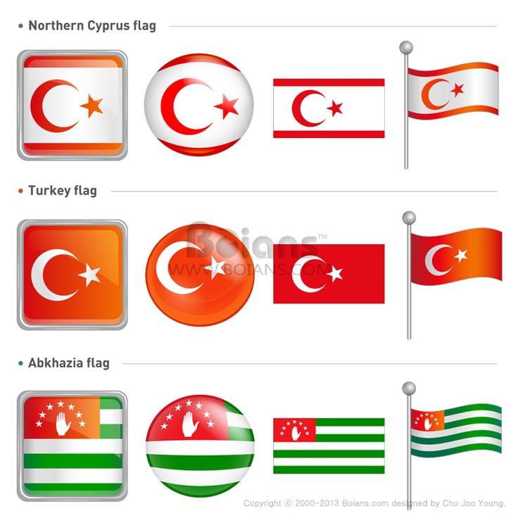 북키프로스와 터키 공화국 그리고 압하스의 국기 아이콘. 전세계 국기 아이콘 디자인 시리즈. (ICON010018)  Northern Cyprus and Abkhazia, Turkey Flag Icon . The world national Icon Design Series. (ICON010018)  Copyrightⓒ2000-2013 Boians™ designed by Cho Joo Young.
