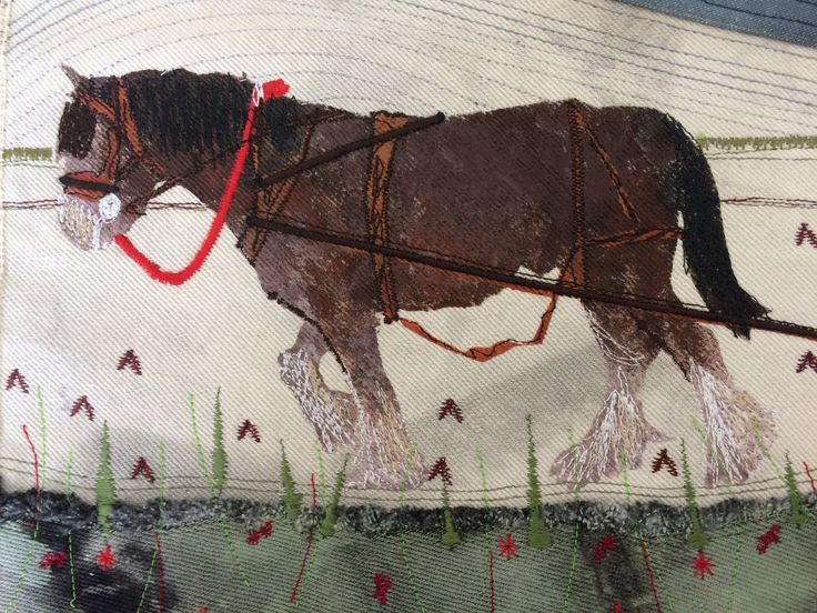 This is Sampson, hand painted machine embroidered shire horse.  Added applique.  February 2017
