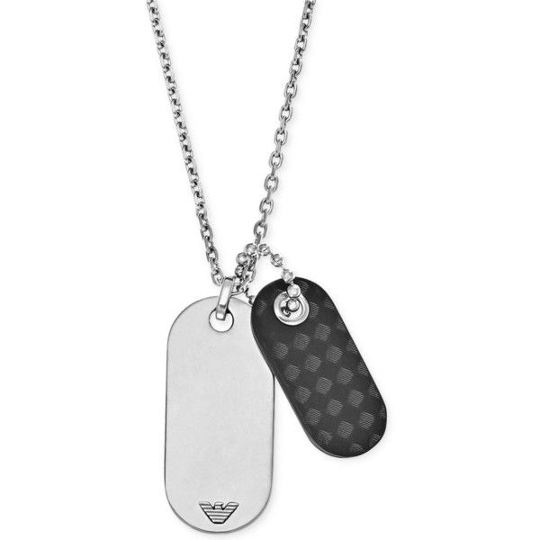 Emporio Armani Men's Stainless Steel and Leather Dog Tag Pendant... ($125) ❤ liked on Polyvore featuring men's fashion, men's jewelry, men's necklaces, no color, mens leather necklace, mens dog tag necklace, mens necklaces, mens watches jewelry and mens stainless steel necklace