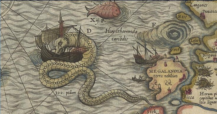 One of the classic images of a sea monster on a map: a giant sea-serpent attacks a ship off the coast of Norway on Olaus Magnus��019s Carta marina of 1539, this image from the 1572 edition.