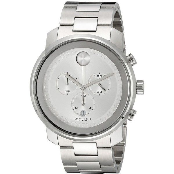 Movado Bold - 3600276 (Stainless Steel) Watches ($895) ❤ liked on Polyvore featuring men's fashion, men's jewelry, men's watches, mens stainless steel watches, mens chronograph watches, movado mens watches and men's blue dial watches