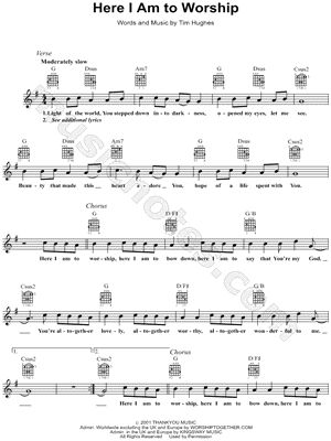 "flute and guitar worship music | ... of Tim Hughes ""Here I Am to Worship"" Sheet Music - Download & Print"