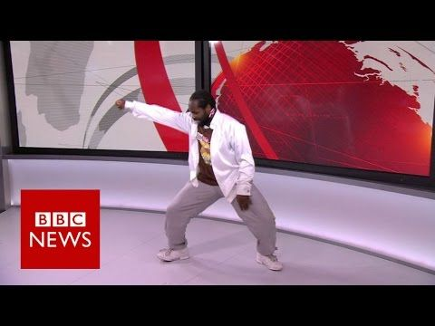 Corville Cufy who was filmed dancing to the BBC News theme dances in studio again to the theme tune. Recorded from BBC News Channel HD, 16 December 2016.