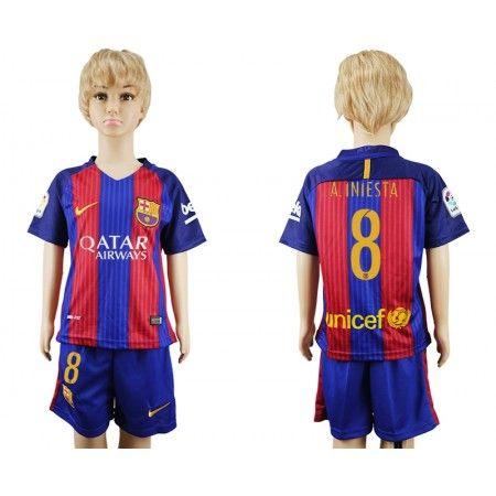 Barcelona Trøje Børn 16-17 #Andres Iniesta 8 Hjemmebanetrøje Kort ærmer,199,62KR,shirtshopservice@gmail.com