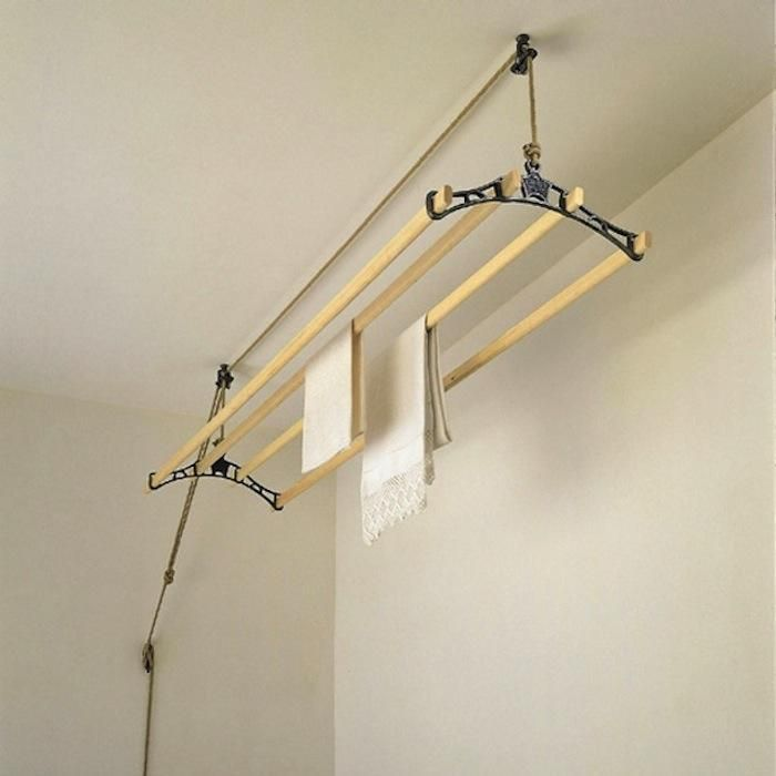 height-adjustable drying rack from Sheila Made Clothes Airer facilitates indoor drying in small spaces and cuts down on energy use; $135 from Ancient Industries.