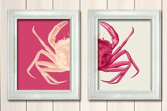 Set of 2 Crab Prints Pink And White ,Nautical Print Beach Decor bathroom Decor Nautical Decor Wall Art Beach House Decor Crab Picture on Etsy, 166,00 kr