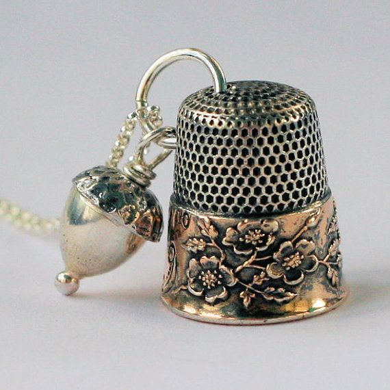 Antique Thimble Necklace with Acorn Peter Pan and Wendy Kisses in Sterling Silver Wild Roses