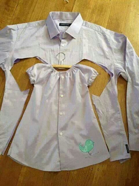Recycle old shirts into little girls dresses or little boys shirts!