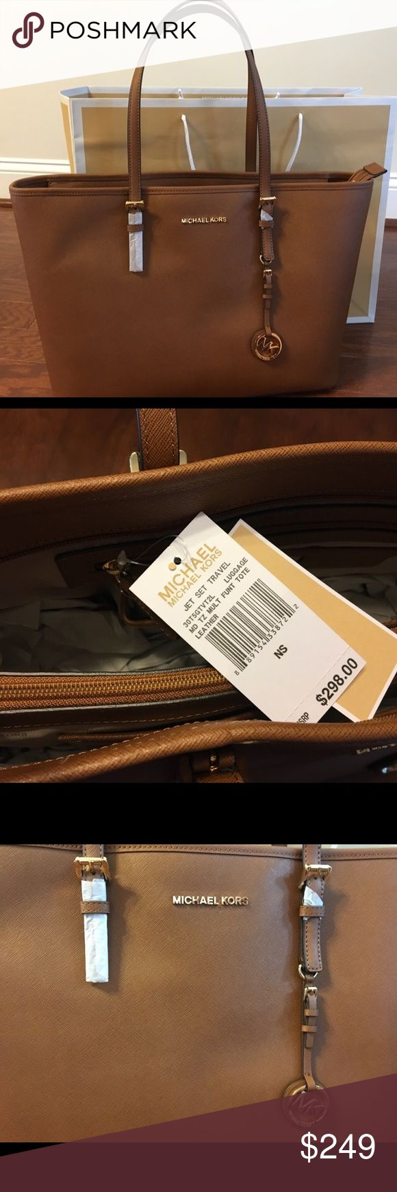 💛NWT💛 Michael KORS Jet Set Travel 👜 Tote Absolute beautiful leather-perfect for every day or as a travel tote.  Less on 🅿️ or Ⓜ️ Michael Kors Bags Totes