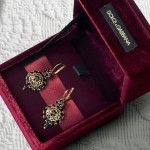 Gold earrings with prongs pendants - D
