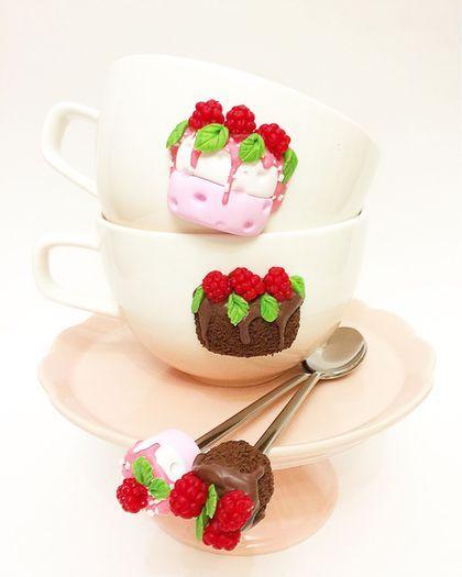 Кружки и чашки ручной работы. Кружка и ложка с тортом в подарок. SashaTry…