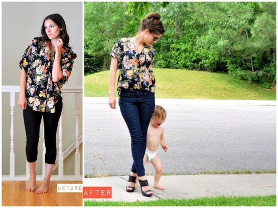 refashion: big old flowery 90's blouse updated