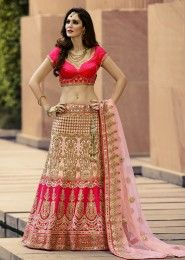 Wedding Wear Pink Net Zarkan Work Lehenga Choli