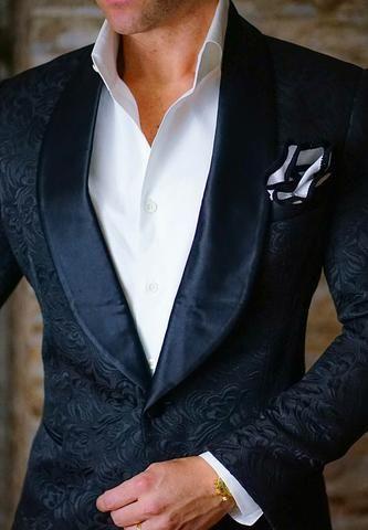 BlackSlim-Fit Designer Paisley Jacket Satin Shawl Collar Full-Canvas Construction Single Button Closure Soft, natural shoulder construction Chest Barchetta