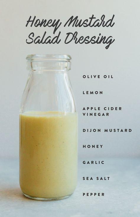 Honey Mustard Salad Dressing with olive oil, lemon, apple cider vinegar, mustard, honey, garlic, salt and pepper.