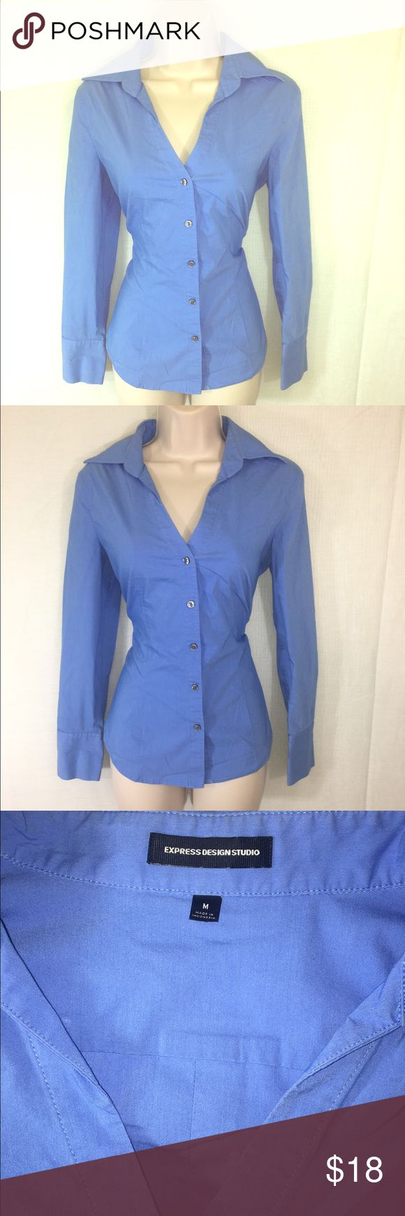 Express Blue Button Down-M A long sleeved button up shirt from Express in a soft blue. The color and feminine cut make it a beautiful and flattering piece for a professional look! Express Tops Button Down Shirts