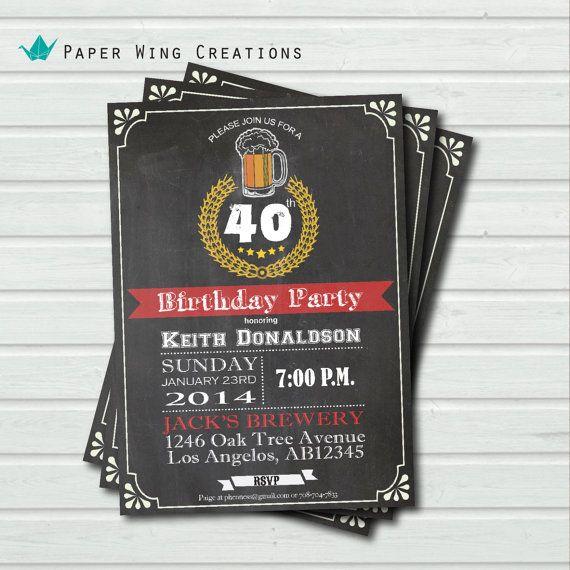 40th Birthday Invitation For Man Adult Beer Birthday