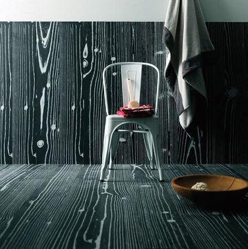 Cérame imitation bois noir et blanc/ Pop wood