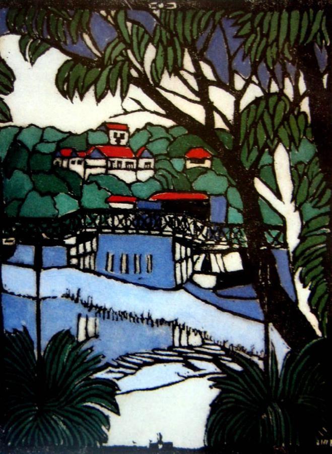Margaret Preston Woodblock 'Mosman Bridge'