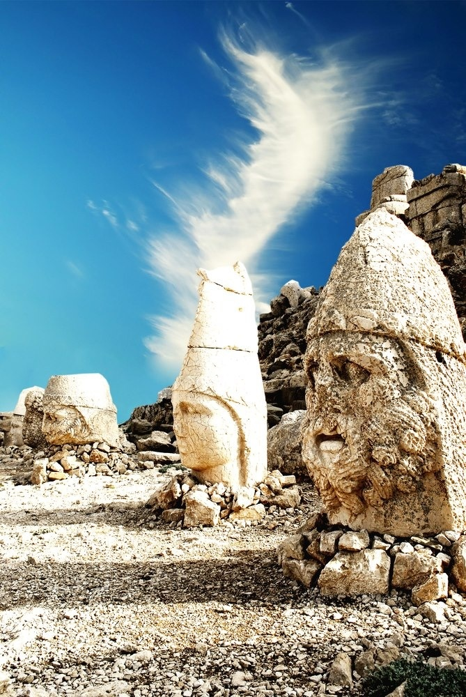 Mount Nemrut,Turkey. In 1987, Mount Nemrut was made a World heritage site by UNESCO. Tourists typically visit Nemrut during April through October. The nearby town of Adıyaman is a popular place for car and bus trips to the site, and one can also travel from there by helicopter. There are also overnight tours running out of Malatya or Kahta.