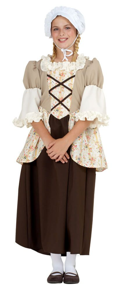 58c1ad50172 Child s Brown Floral Colonial Girl Costume - Candy Apple Costumes - Black  History Month Costumes