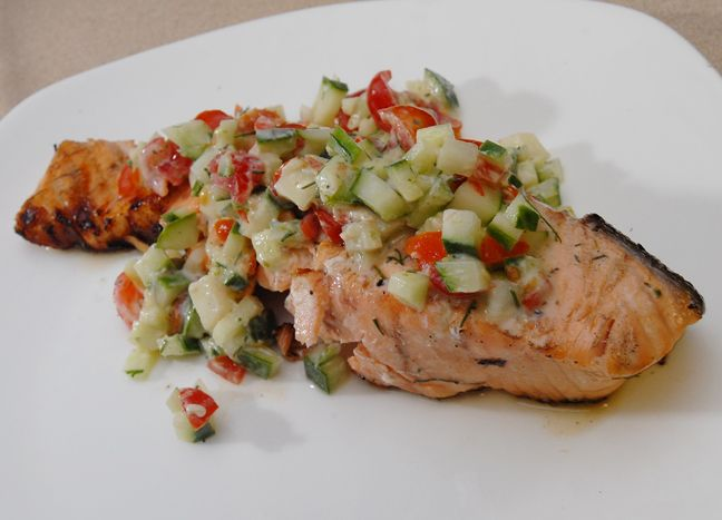 Sake salmon steaks with cucumber and tomato relish: Rufus' Food and ...