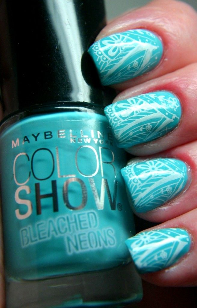 Maybelline Bleached Neons Nail Polish Day Glow Teal Nail Art