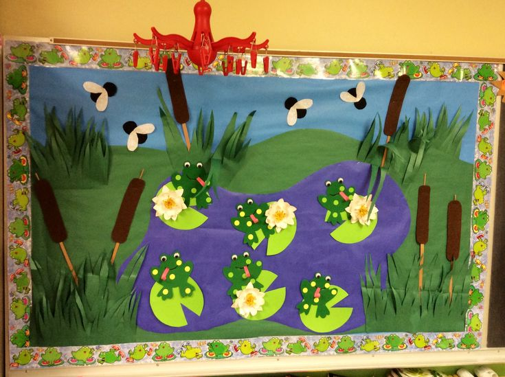 Frog themed bulletin board | Frog classroom, Frog theme ...