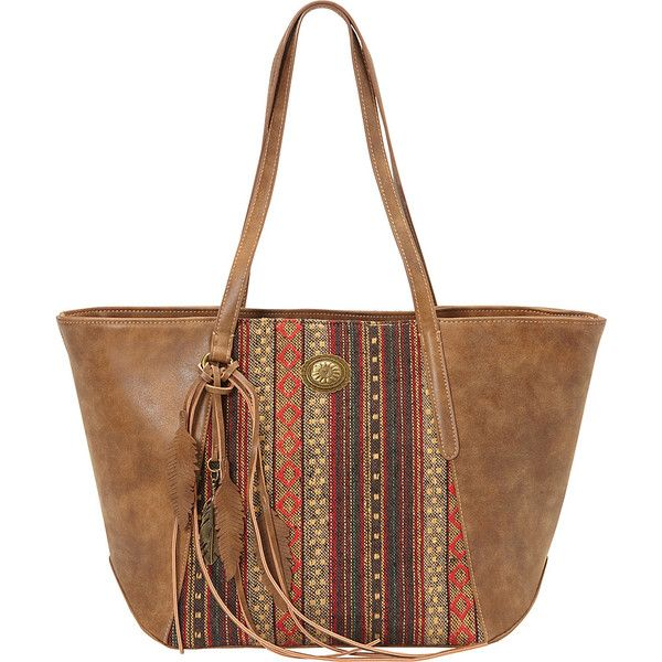 Bandana Serape Zip Top Tote - Medium Brown / Autumn Leaves - Totes ($61) ❤ liked on Polyvore featuring bags, handbags, tote bags, brown, brown purse, white tote, white tote bag, woven tote bags and colorful tote bags