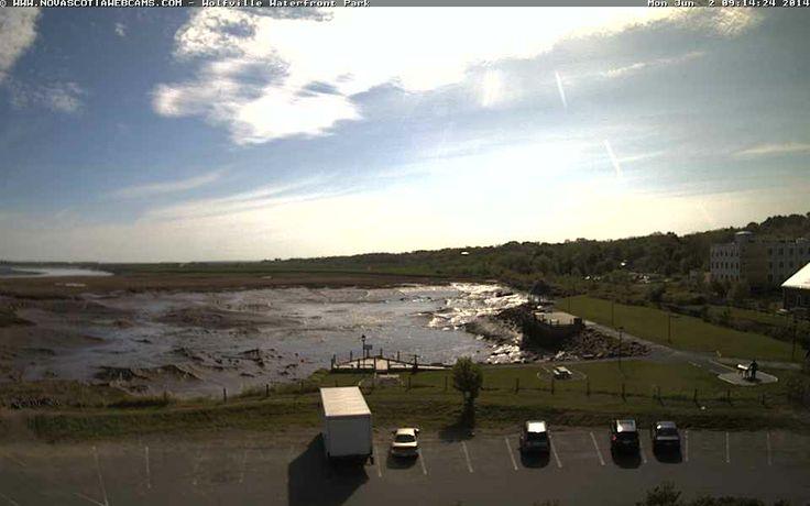 Wolfville Harbourside Park at low tide - Nova Scotia Webcams.