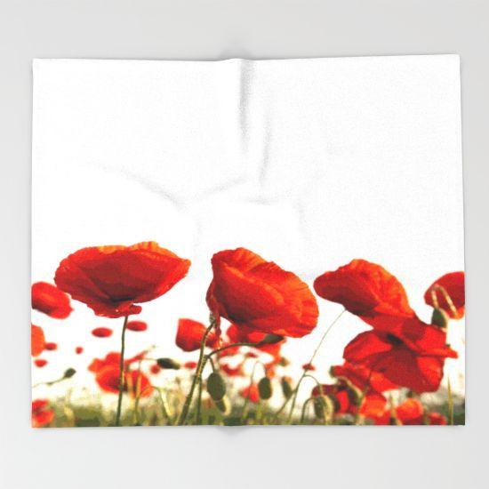 Red Poppies Throw Blanket by Müge Başak - $49.00