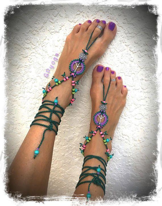Signe de paix lavande sandales Shanti perlé Crochet orteil