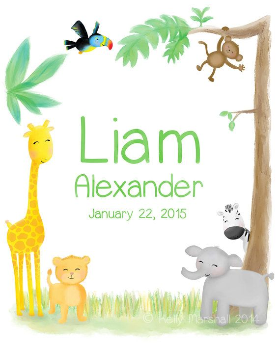 ✬☆ Personalised Jungle Name Art Print ✬☆ Unframed Artwork by Sweet Cheeks Images. $12.00 AUD