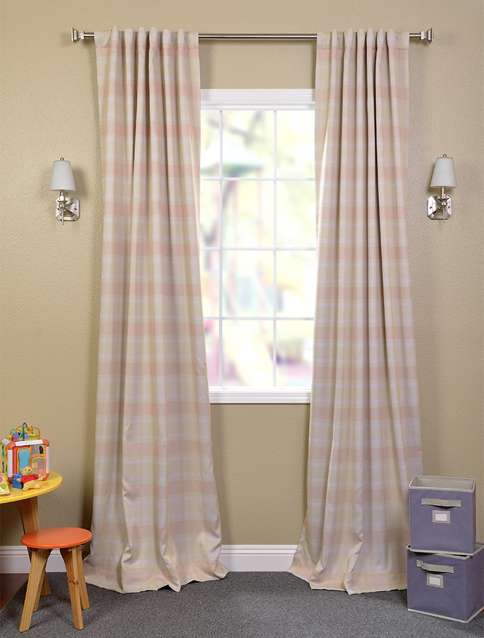 Andrea's room Peaches n Cream Blackout Back-Tab Pole Pocket Curtains
